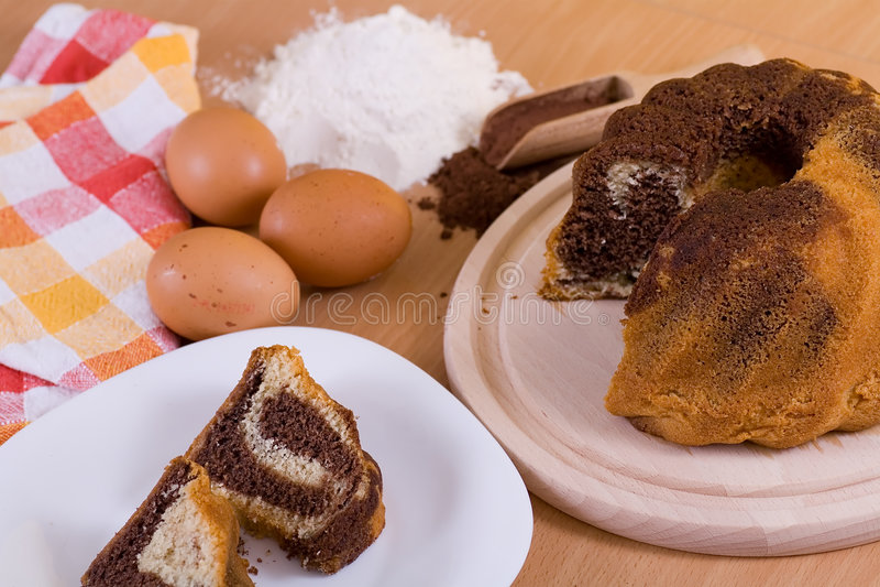 Cake and ingerdients stock photography