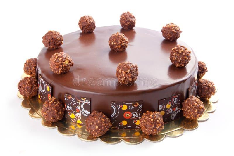 Cake isolated. Chocolate cake isolated on white background royalty free stock image