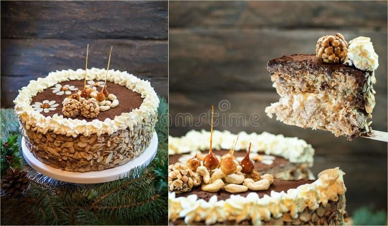 Cake Kievskiy. Homemade Kiev cake on wooden background. selective focus. ukrainian bakery product. stock image