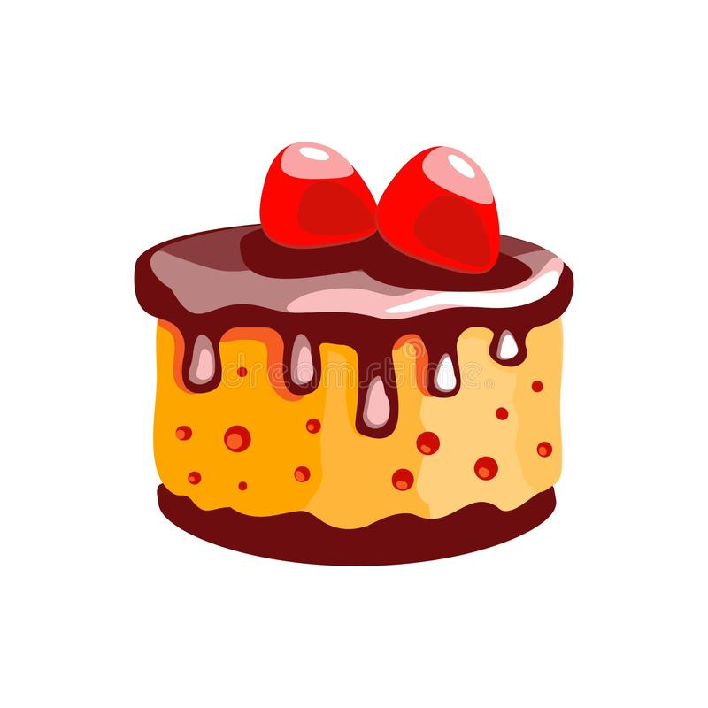 A cake with lemon cream and strawberries. Dessert. Isolated object. Icon of food on a white background. royalty free illustration