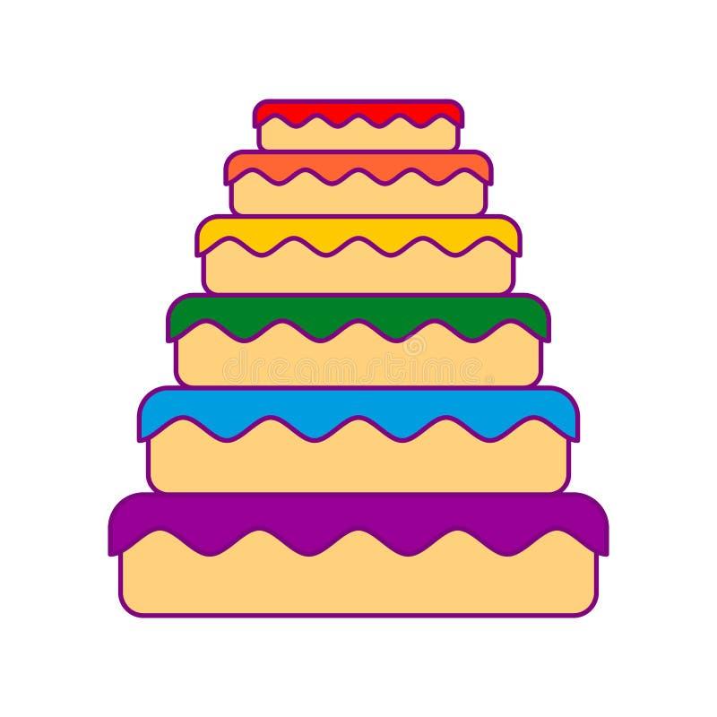 Cake LGBT De grote regenboog van de pasteikleur Voedselhomosexueel Feestelijk vlees vector illustratie
