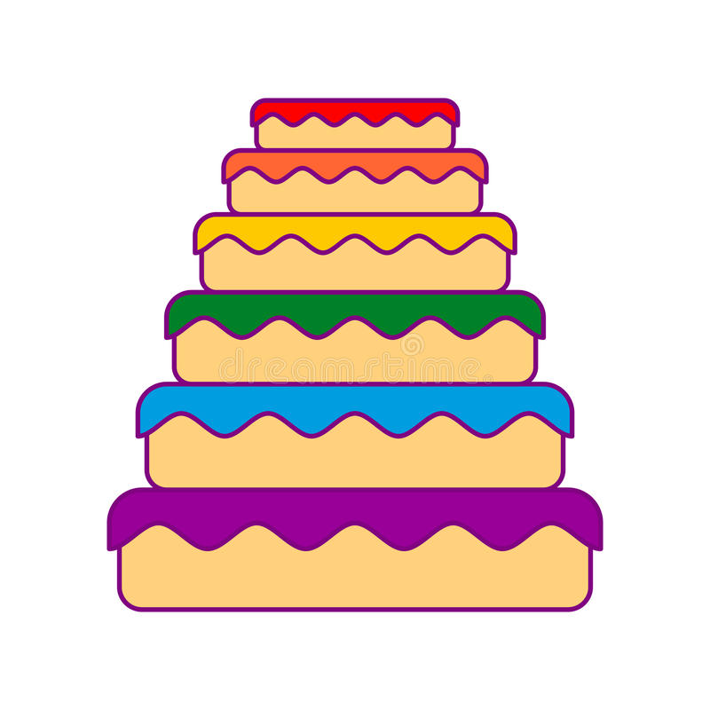 Cake LGBT. Great pie color rainbow. Food gay. Festive meat vector illustration