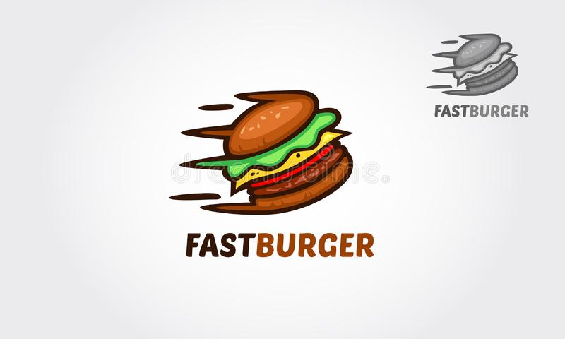 FastBurger Logo. Creative Fast Burger logo template. Vector logo illustration. This design will great to promote your Cafe / restaurant / food truck royalty free illustration