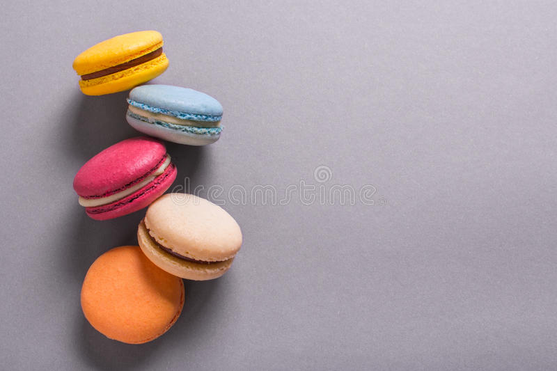 Cake macaron or macaroon colorful cookies royalty free stock photo