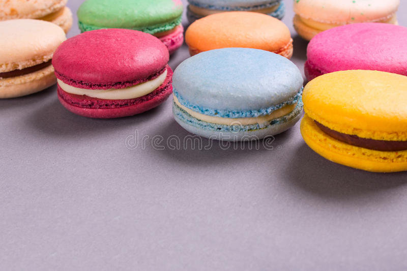 Cake macaron or macaroon colorful cookies royalty free stock images