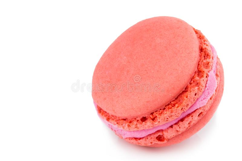 Cake macaron or macaroon isolated on white background, sweet and. Colorful dessert royalty free stock photos