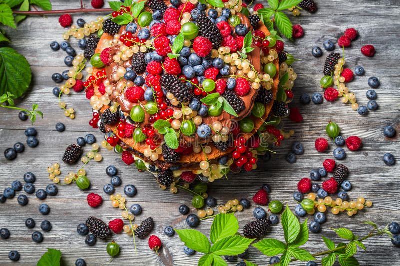 Cake made of fresh wild fruit royalty free stock photography