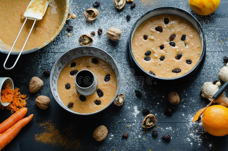 Cake making with a view of all the ingredients. Top view. Flat lay royalty free stock photos