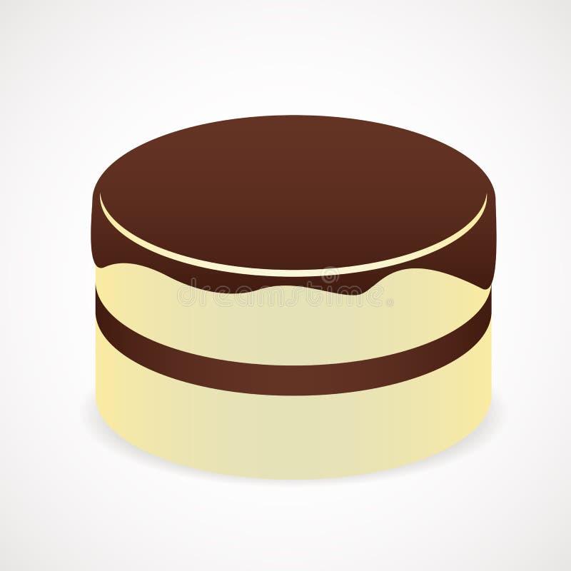 Cake med chokladisläggning royaltyfri illustrationer
