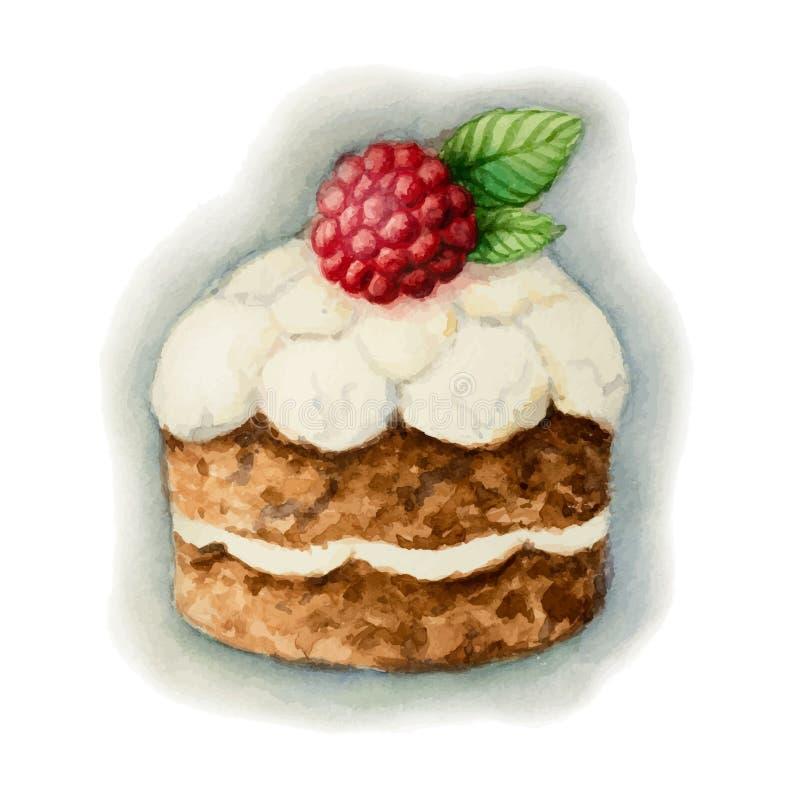 Cake med hallon vektor illustrationer