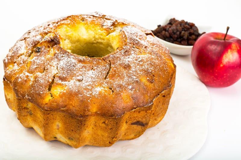 Cake met appelen, peren en rozijnen stock fotografie