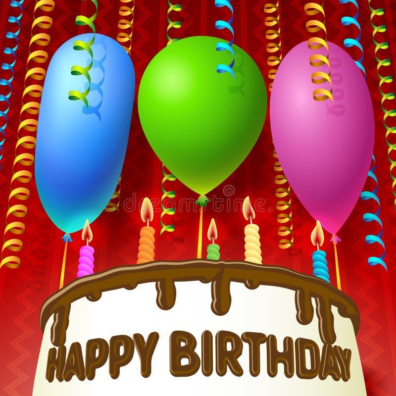 Cake met ballons royalty-vrije illustratie