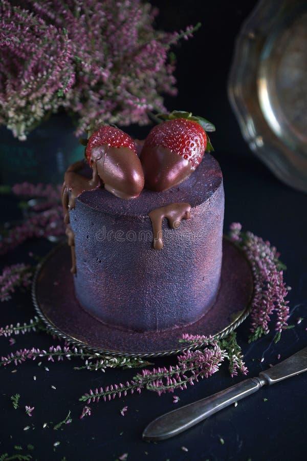 Cake met bessen, met blauw-violette glans en chocolade met bloemen worden behandeld, Kosmische cake, Hand - gemaakt gebakje, Donk stock afbeelding