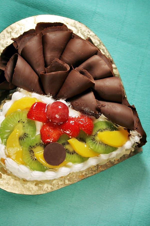 Cake met chocolade & fruit royalty-vrije stock foto