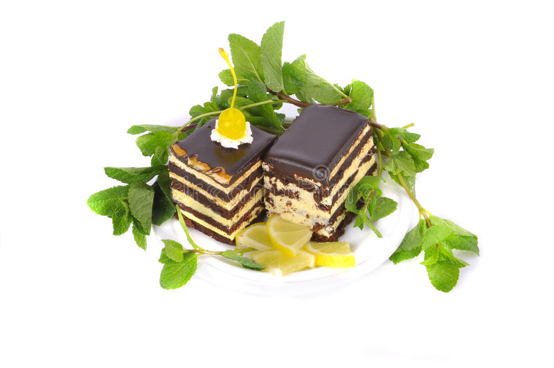 Cake met citroen en munt royalty-vrije stock foto