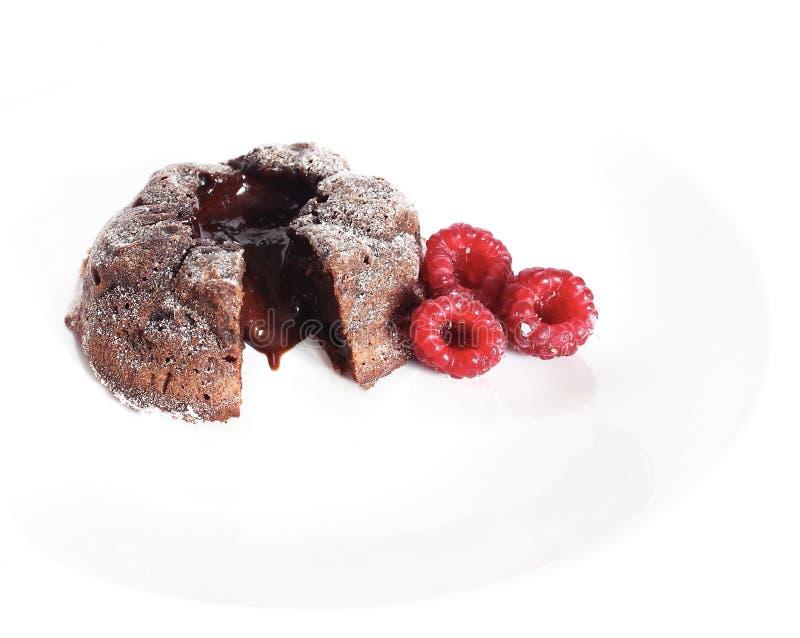 Cake met framboos stock fotografie