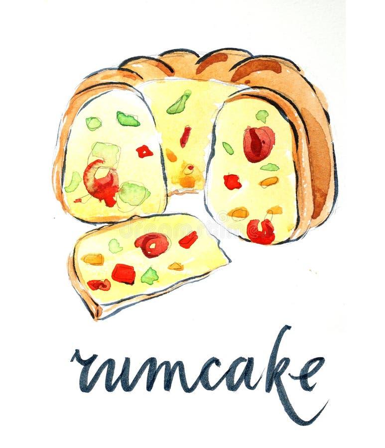 Cake met gekonfijte vrucht stock illustratie