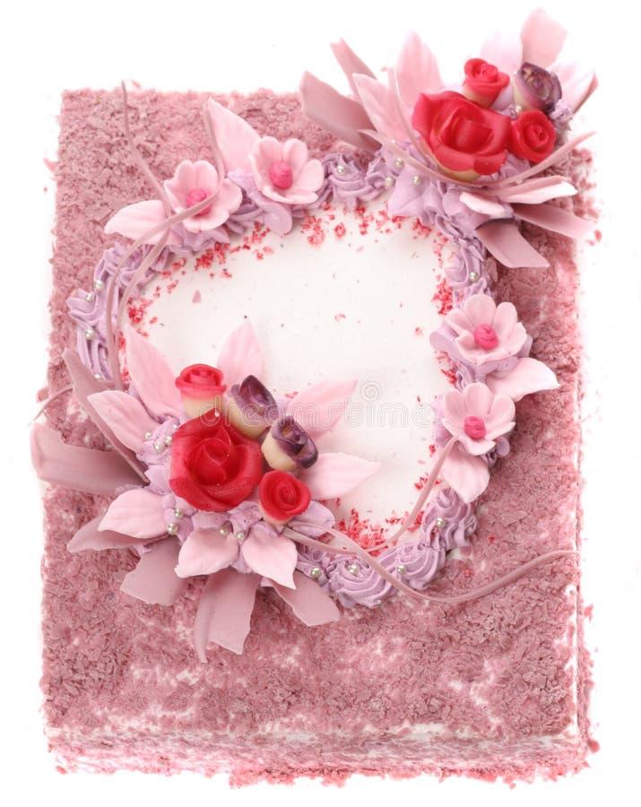Cake met hart stock afbeeldingen