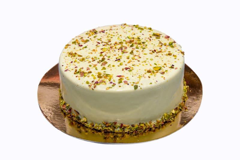 Cake met noten en marzipans, het koken, dessert, banketbakkerij, ronde vorm met fruit, room, chocolade stock foto's