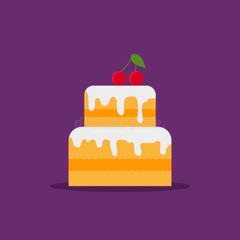 Cake met room vlak pictogram op purpere achtergrond Gelukkig Verjaardag en Huwelijk Verglaasde cake met kers Zoete roompastei royalty-vrije illustratie