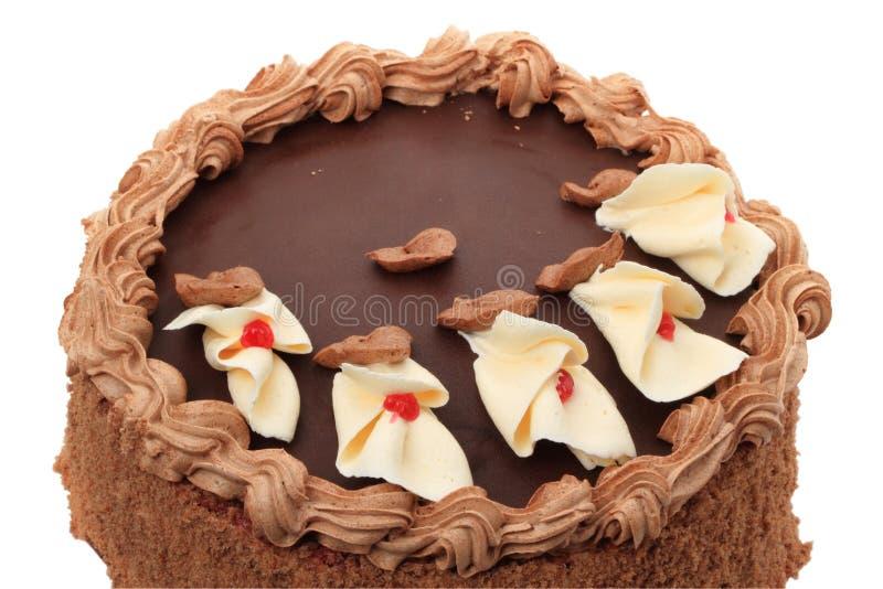 Cake met slagroom op wit royalty-vrije stock foto