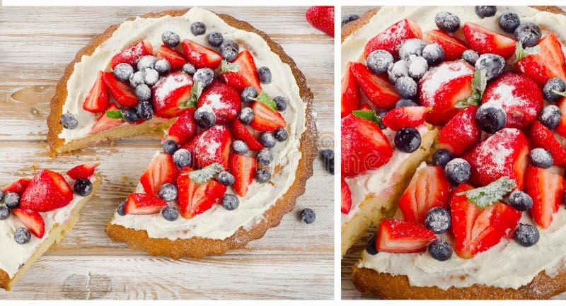 Cake met verse bosbessen en aardbeien royalty-vrije stock fotografie