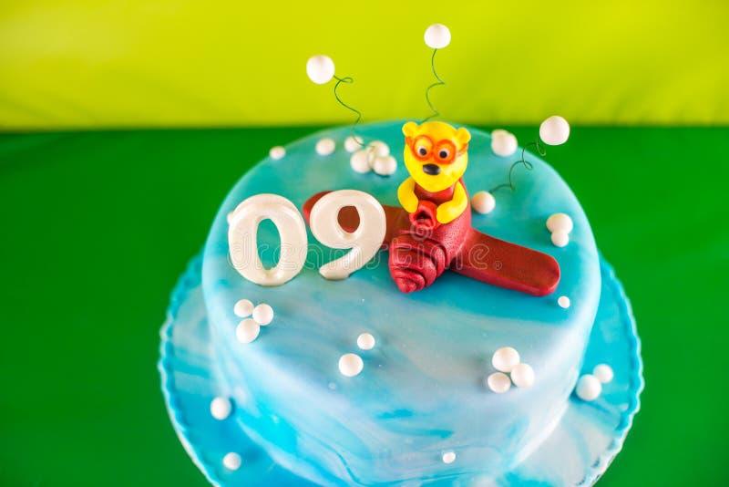 Cake for 9 month celebration stock photo