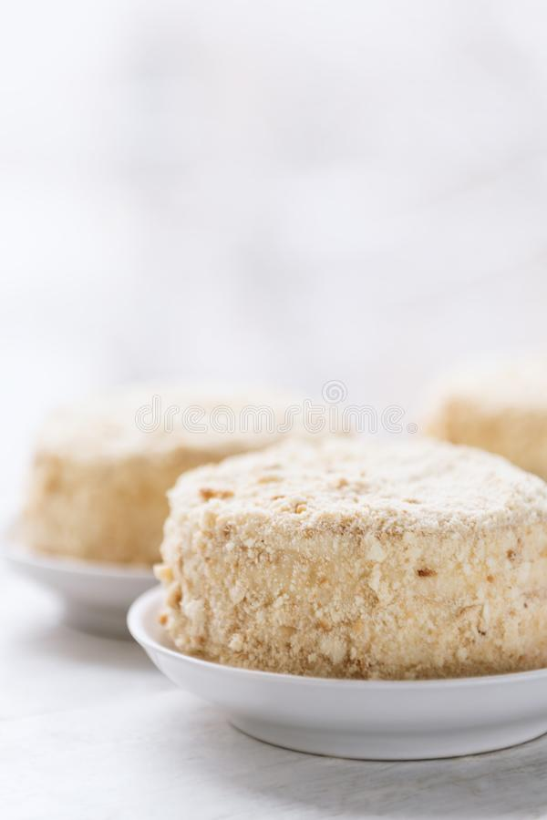 Cake Napoleon op witte plaat Russische keuken, multi gelaagde cake met gebakjeroom royalty-vrije stock foto's