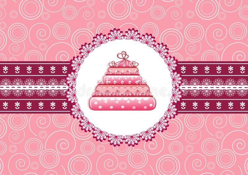 Cake op doily. vector illustratie