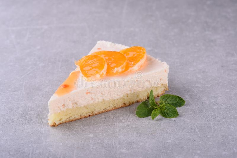 Cake with orange and mint for a restaurant menu4 royalty free stock photography