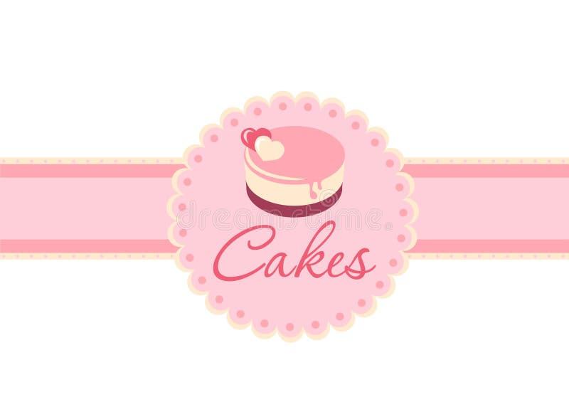 Cake på en pink stock illustrationer