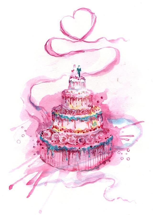 Cake. Painting of festive wedding cake vector illustration