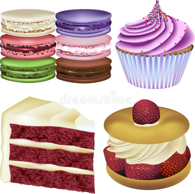 Cake and Pastry Vector Illustrations. Macarons, Raspberry Cupcake, Red Velvet Cake and a Strawberry Cream Pastry stock illustration