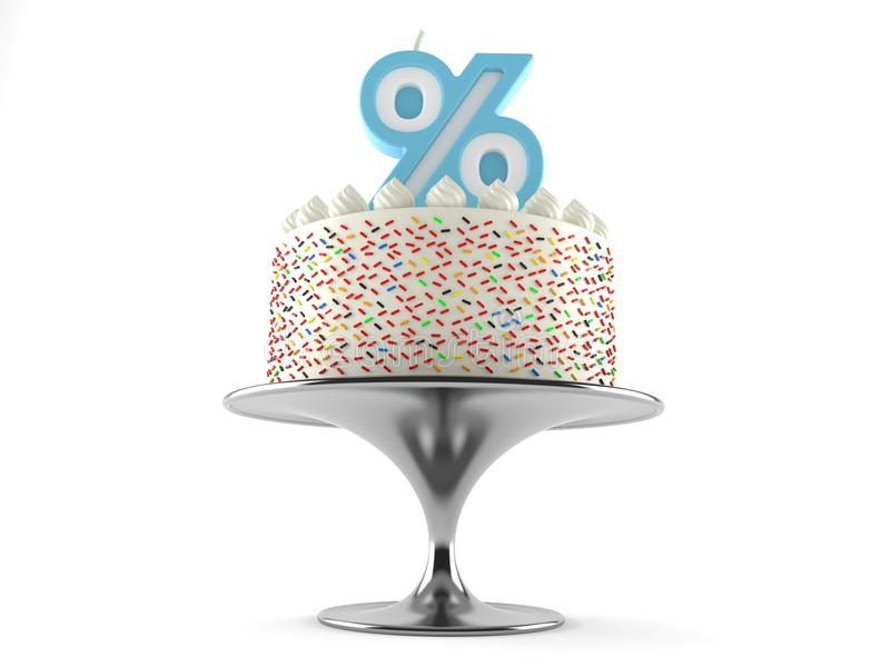 Cake with percent candle royalty free illustration