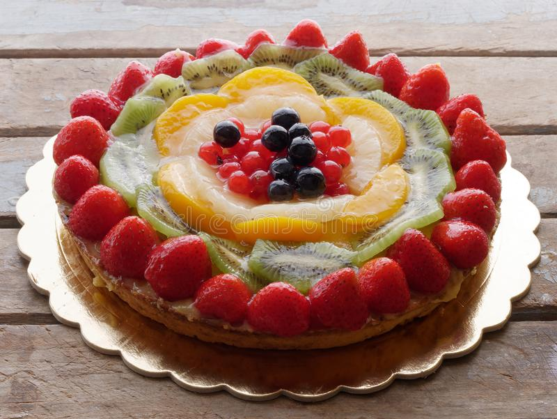 Cake pie fruit decorated royalty free stock photography