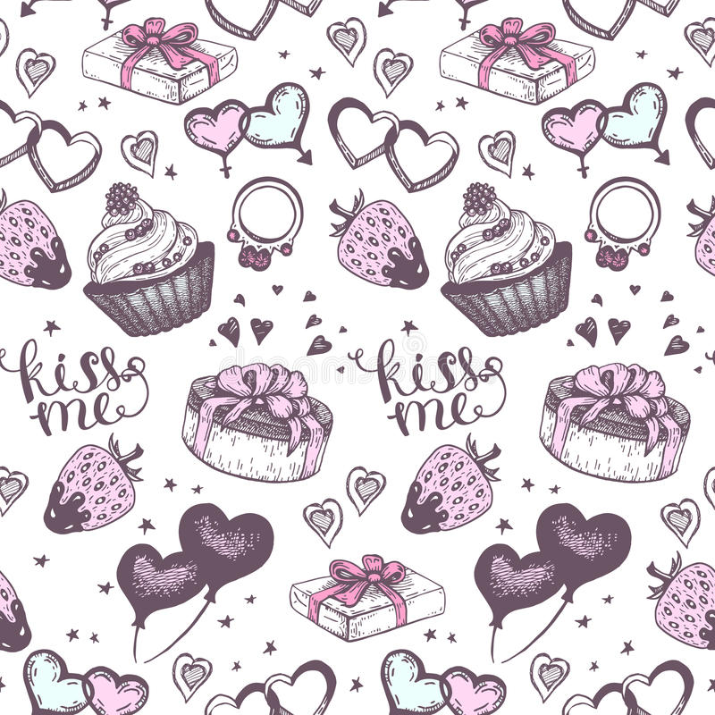 Cake with pink gifts seamless vector pattern. stock illustration