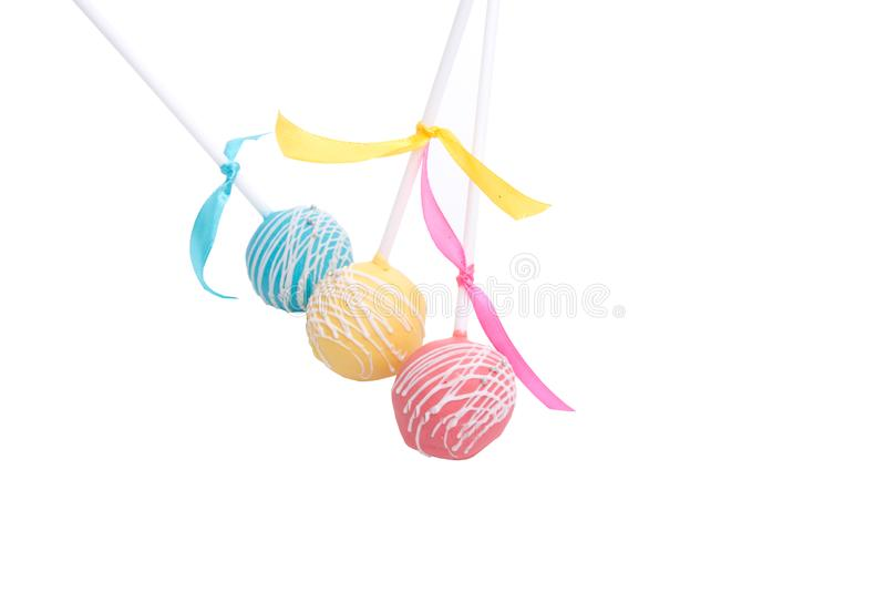 Cake-pops candy isolated. On the white royalty free stock photography