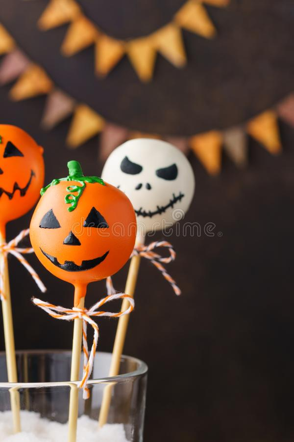 Cake pops for Halloween. Spooky sweet chocolate monsters royalty free stock images