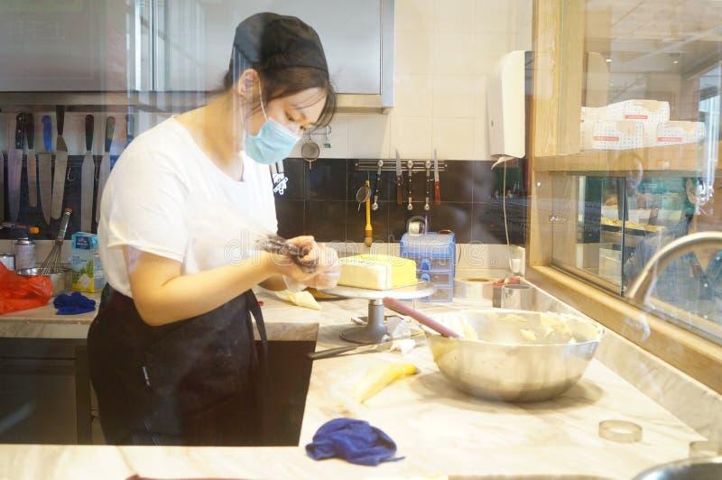 Cake processing stock photos