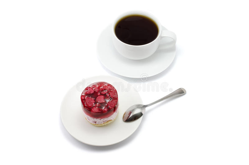 Download Cake With Raspberries And A Cup Of Tea Stock Photo - Image of fruit, white: 39503240
