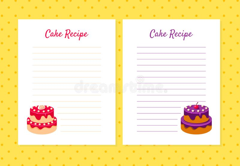 Cake Recipe Cookbook Design Templates, Card with Lines for Recipe Placement Vector Illustration. On Yellow Background royalty free illustration