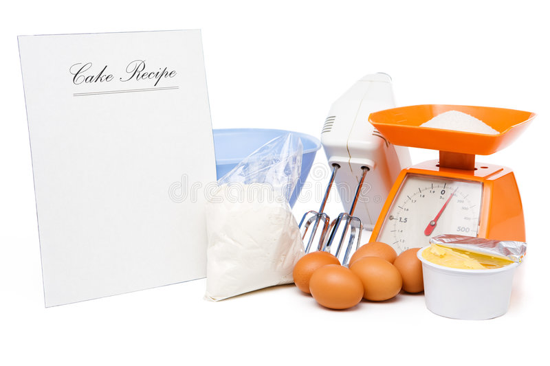 Cake recipe and ingredients. Blank cake recipe with ingredients (eggs, sugar on scale, flour, milk butter, mixer and bowl stock photography