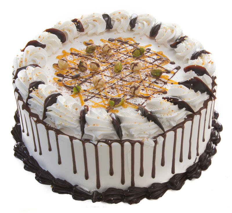 Cake roomijscake op achtergrond stock foto