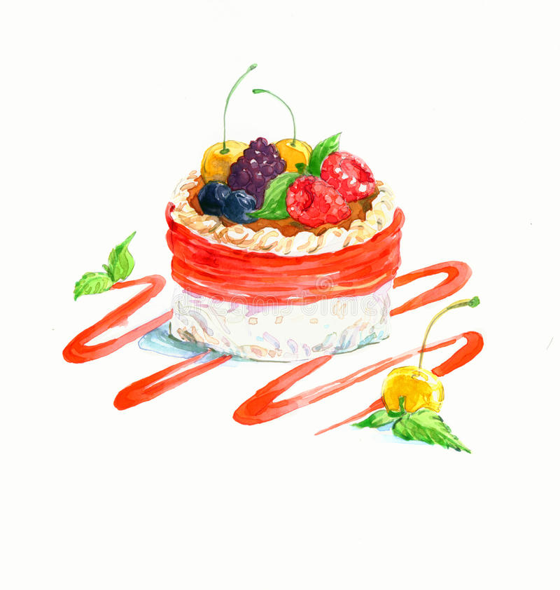 The cake round shape dessert cake watercolor stock photos