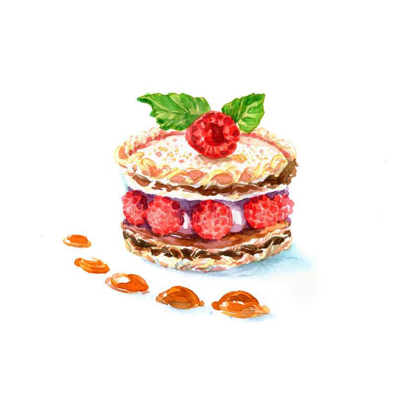 The cake round shape dessert cake watercolor royalty free stock image