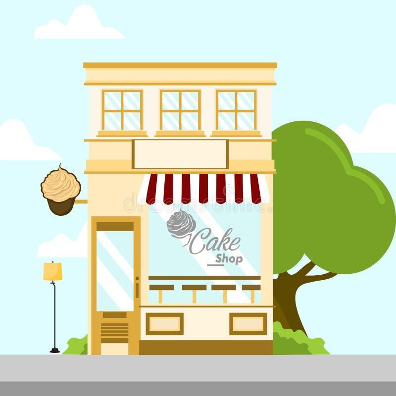 Cake Shop Store Front Building Background Illustration stock illustration