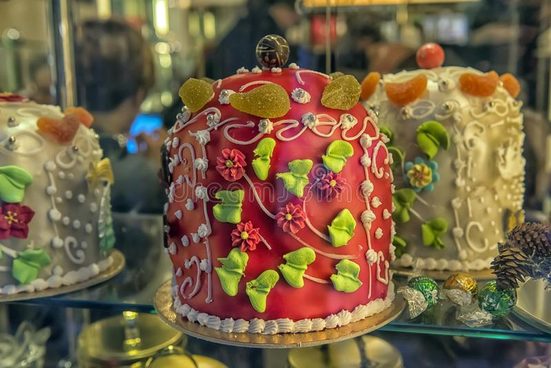 Cake in a shop window stock photography
