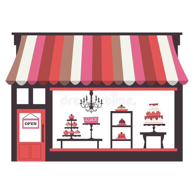 Cake Shopfront. A chic illustration of a cake shopfront with large window display. On the window display, there are cakes, cupcakes, desserts and pies stock illustration