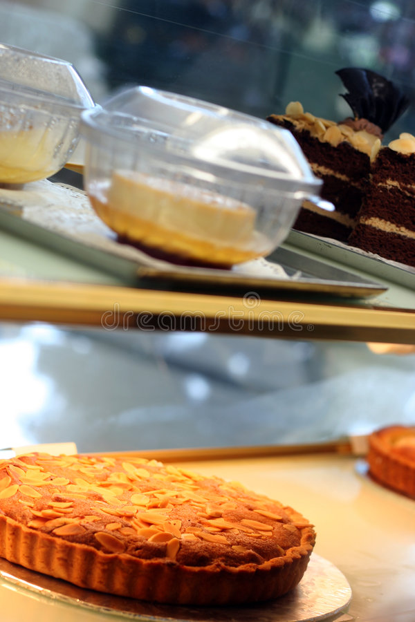Cake in the show case royalty free stock images