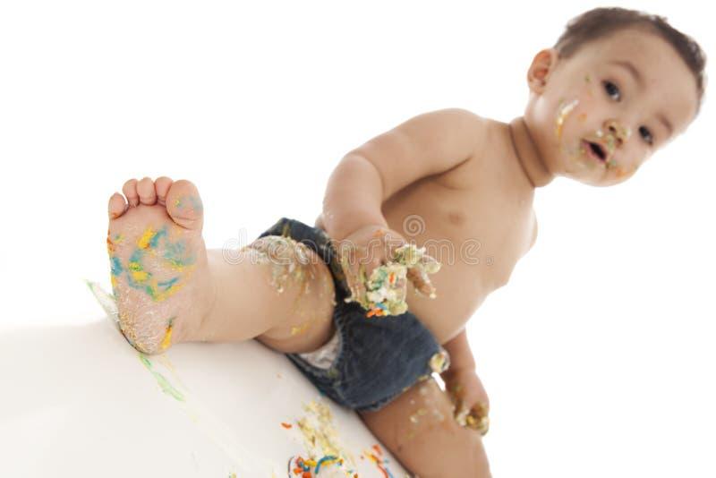 Cake smash. royalty free stock photo